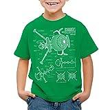 style3 Future Comet Kinder T-Shirt Captain, Farbe:Grün;Größe:128