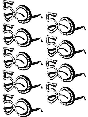 Paare Für Passende Ideen Kostüm - 9 Paare 50. Geburtstag Brille Nummer 50 Kristall Rahmen Neuheit Brillen Feier Dekoration