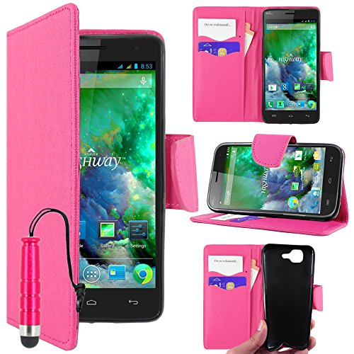 ebestStar - Wiko Highway 4G Hülle Kunstleder Wallet Case Handyhülle [PU Leder], Kartenfächern, Standfunktion + Mini Stift, Pink [Phone: 144 x 70 x 7.3mm, 5.0'']