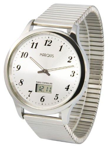 MARQUIS Herren Funkuhr, Gehäuse und Armband aus Edelstahl, Armbanduhr, Junghans-Uhrwerk 964.6020