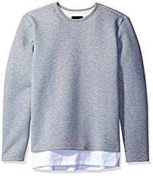 GUESS Mens Yorba Longline Mesh Pullover Sweatshirt, Heather Light Grey, XL R