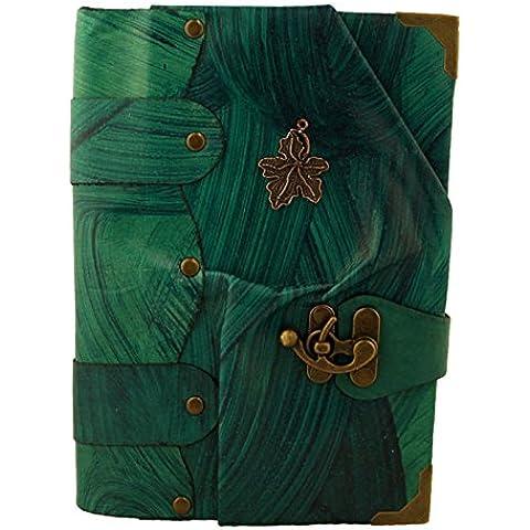 Ciondolo Foglia Blu Annata Diario In Pelle Fatto A Mano Leather Taccuino Sketchbook Notepad Diario Quotidiano Agenda Tascabile Bloccare Donne Maschi Ragazze Ragazzi
