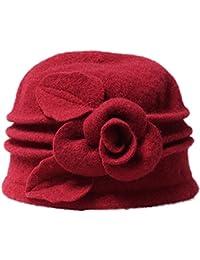 Ababalaya Damen 1920s Gatsby Retro 100% Wolle Cloche Bucket Hut Beret Fischermütze Melone mit Blumendetail Wintermütze