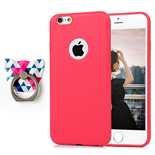Badalink Coque iPhone 6 6S, Case Housse Étui Bumper Coque TPU Silicone Gel Mat Souple Flexible Ultra Mince Slim Léger Anti Rayure Antichoc Housse Étui iPhone 6 6S Coque Rose + Bague Support Rouge