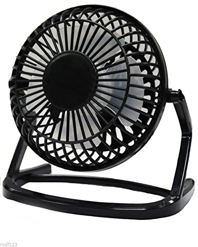 Price comparison product image UKayed 5 Inch Silent Desk Fan Mains Or USB Electric Powered Quiet Air Cooling Cooler Powerful Flow (Black)
