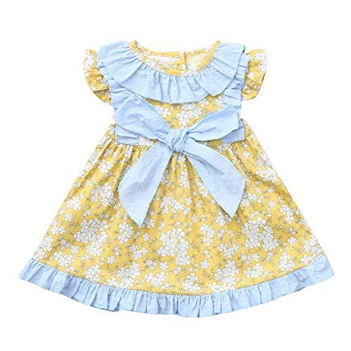 a5346b400e Vestido de Flores con Arco Niñas K-Youth Recién Nacido Niños Ropa Bebe Niña  Verano