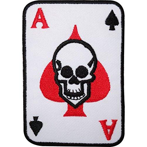 Black Skull Jeans (ACE OF SPADES Skull Spielkarte bestickt Eisen/Nähen auf Patch Jeans Tasche Badge)