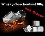 Whiskyset Diamond 6tlg. mit Gravur'Wunschtext' + gratis Samtbeutel ** 2 Whiskygläser (Marke: Thumbs Up) + 4 Whiskysteine mit Wunschgravur (Marke: vacu vin) im Samtbeutel ** Genießen Sie Ihre Getränke mit Stil ** keine Verwässerung mehr für puren Trinkgenuss ** Geschenkset für Whiskey-Trinker mit Gläsern in Form eines Diamanten