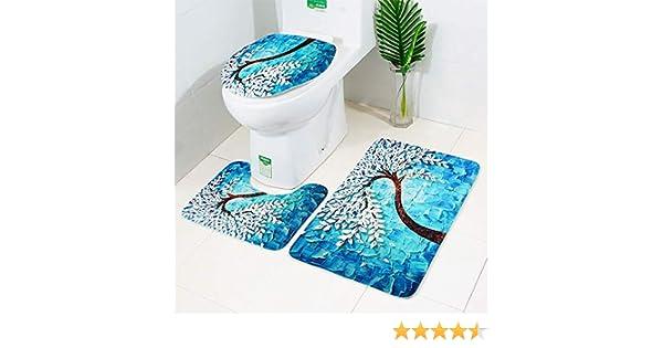 Sedile WC /& cover Hunpta 3pcs moda stampato tappetino WC e coprisedile Toiletseat tappetino per bagno cucina Blue