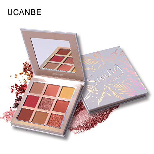 Palette fard à paupières, LHWY Maquillage cosmétique de poudre de fard à paupières mat de poudre de fard à paupières de pinceau imperméable de 9 couleurs