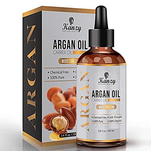 Kanzy Arganöl für Haare Bio, kaltgepresst vegan Öl Anti-Aging Gesichtsöl mit natürlicher Feuchtigkeitscreme, Körperöl, Vitamin E beschleunigen Haarwachstum, Nagelpflege-Kosmetik Maroccon Oil 100ml
