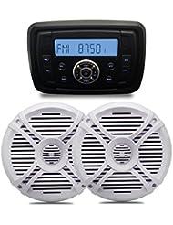 Marine Boat estéreo FM AM receptor de radio Bluetooth USB MP3reproductor de música impermeable Audio Sistema de sonido Paquete 6,5cm blanco resistente al agua altavoz