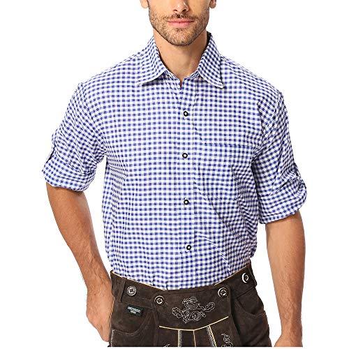 Gesteiner Leather Herren Trachtenhemd Trachtenhemden für männer karriert Trachten Hemd Langarm Regular fit Baumwolle mit krempelärmeln verschiedenen karo Farben (2XL, Blau 01)