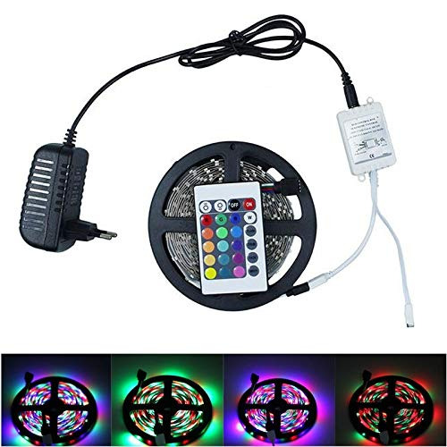 RGBZONE RGB LED Strip 5M 3528 SMD 300LEDs Flexible Light LED Tape 24 IR Remote Controller and DC 12V 2A Power Supply Adapter