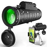 Monokular Teleskop, 40X60 Hochleistungs und HD Monokular mit universellem Smartphone-Halter BAK4-Prisma für Vogelbeobachtung, Jagd, Überwachung, Wandern