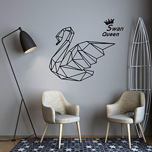 Kreative Swann Queen Geometrie Vinyl Wandtattoos Aufkleber Wohnzimmer Kinderzimmer Wanddekoration Aufkleber Wandbild 43 * 52 CM (Tiere City Queen)