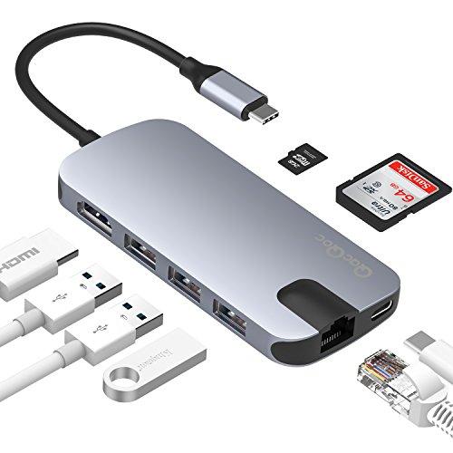 Mac Bluetooth-karte (USB C Hub QacQoc USB C Adapter mit 3 USB 3.0 Ports, Ethernet-Anschluss, SD- und Micro SD-Kartenleser, USB C Ladeanschluss, HDMI Port geeignet für MacBook/Pro, Google Chromebook usw. (Grau+Schwarze Kabel))