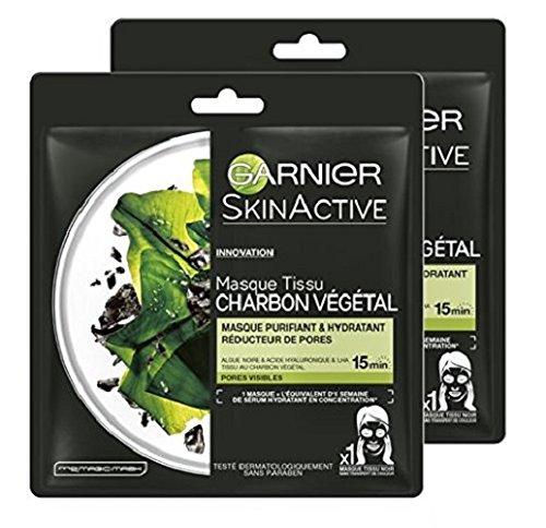 Garnier SkinActive Masque Tissu Charbon Végétal  28 g - Lot de 2