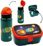 alles-meine.de GmbH 2 tlg. Set _ Lunchbox / Brotdose & Trinkflasche -  Weltraum - Rakete / Raumsc..