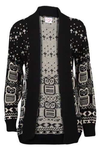 66B-New-Womens-Owl-Printed-Ladies-Long-Sleeve-Knitted-Winter-Cardigan