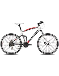 "'Torpado vélo VTT Full suv9926""Alu 3x 7V Disque taille 44Blanc Rouge V17(VTT biammortizzate)/Bicycle VTT Full suv9926alu 3x 7S disc Size 44white red V17(VTT Full Suspension)"