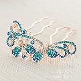 Bride Headdress Luxury Full Diamond Pearl Crystal Rhinestone Hair Insert Hair Comb , lake blue