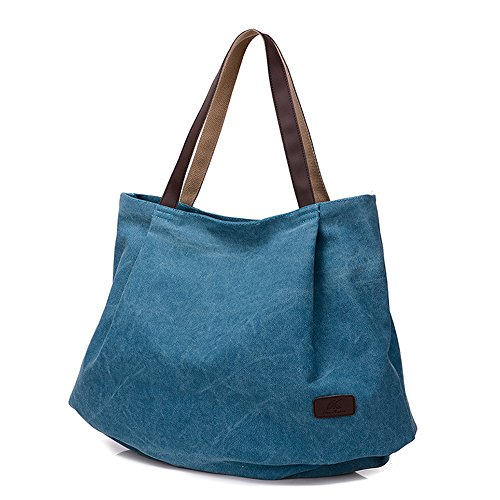 BYD - Donna Large School Bag Borse Tote Bag Shopping Bag Canvas Bag Colore puro Borse a mano Blu