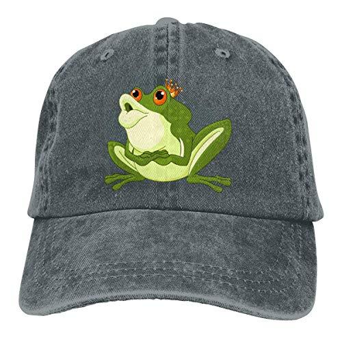 Art Design Green Prince Frog with Crown Retro Adjustable Cowboy Denim Hat Unisex Hip Hop Black Baseball Caps