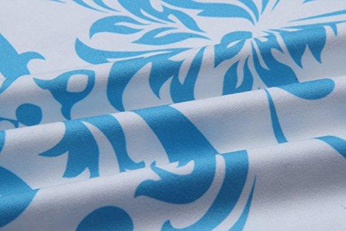 Hibluco Damen Casual 3/4 Arm Shirt V-Ausschnitt Bluse Blumen Oberteil K4