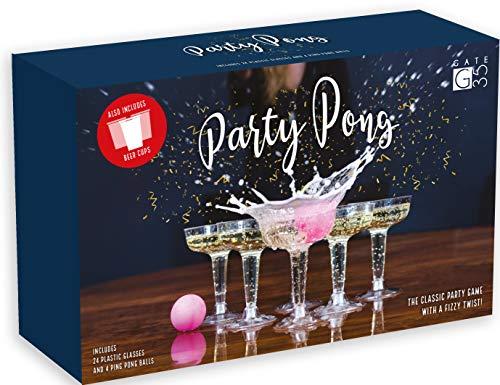 Gate 35 Party Pong - Hochwertiges Beer Pong Trinkspiel mit 24 Plastik Champagner und Biergläsern und 4 Ping Pong Bällen