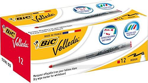 bic-velleda-1741-caja-de-12-marcadores-de-pizarra-blanca-color-roja