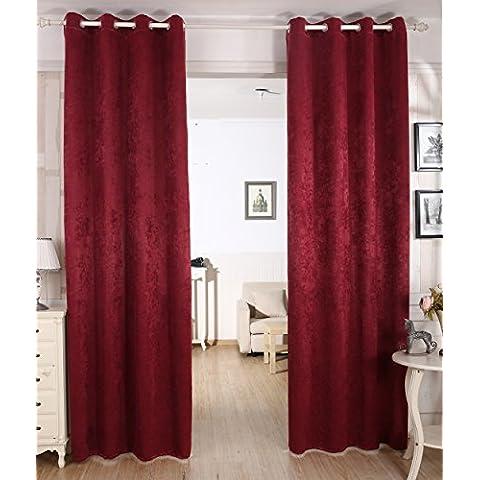 Woltu # 340–Cortina Cortina opaca, dkl cortina térmica con ojales, pesado Damasco cortina DKL cortina en Crushed Diseño, Shabby Chic Vintage, burdeos, 135x245 cm