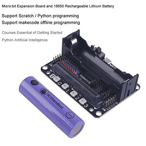 MakerHawk Micro: Bit Expansion Board Robotbit kompatibel mit LEGO Socket Support Scratch Python Programmierung Einführung mit 18650 Lithium-Batterie Akku zum Lernen und Heimwerken (Auto Batterie Direkt-kit)