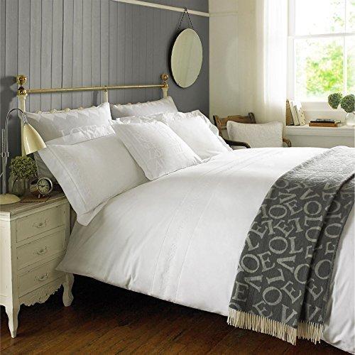 Emma Bridgewater bestickt weiß, 200TC 100% Baumwolle Single Bettbezug (Baumwolle Perkal Bettdecke)