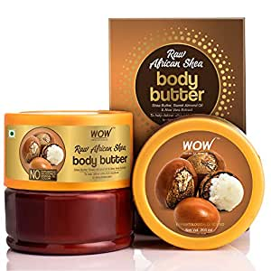 WOW Skin Science Raw African Shea Body Butter for Ultra Rich Moisturising - For All Skin Types - No Parabens, Silicones, Mineral Oil & Color - 200mL