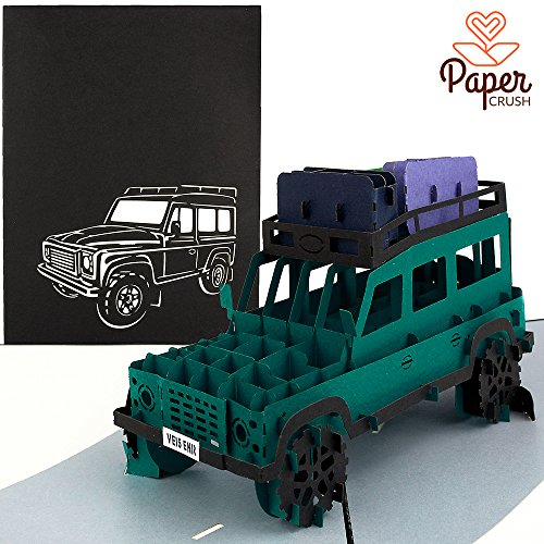 PaperCrush® Pop-Up Karte Geländewagen - 3D Geburtstagskarte, Handgemachte Grußkarte für Männer, Abenteuer Urlaub, Roadtrip, Rundreise, Safari
