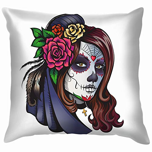 Day Dead Makeup Girl Flowers Hair The Arts People Cotton Throw Pillow Case Cushion Cover Home Office Decorative, Square 18X18 Inch