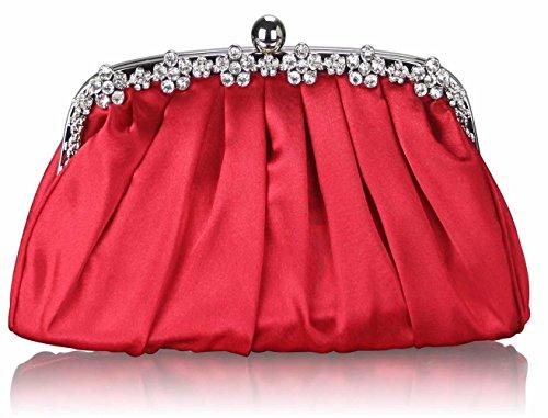 LeahWard® Damen Ausgehabend Abendtaschen Classy Sparkly Kristall Satin Diamante Abschlussball Hochzeit Ball Event Unterarmtasche CWE0088 CWE0098 CWE0088-Red