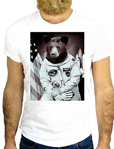 T SHIRT Z0259 BEAR BEARD SMOKE SPACE LAIKA FUN NICE SHUTTLE COOL VINTAGE GGG24 BIANCA - WHITE