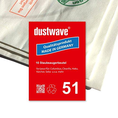 Sparpack - 10 Staubsaugerbeutel geeignet für Kärcher CV 36/2 Staubsauger - dustwave® Markenstaubbeutel - Made in Germany