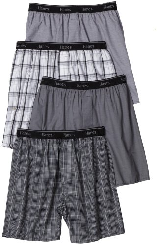 Hanes Men's Classic Comfort Flex Waistband Woven Boxers Underwear, Assorted Plaids, Medium (Pack of 4)