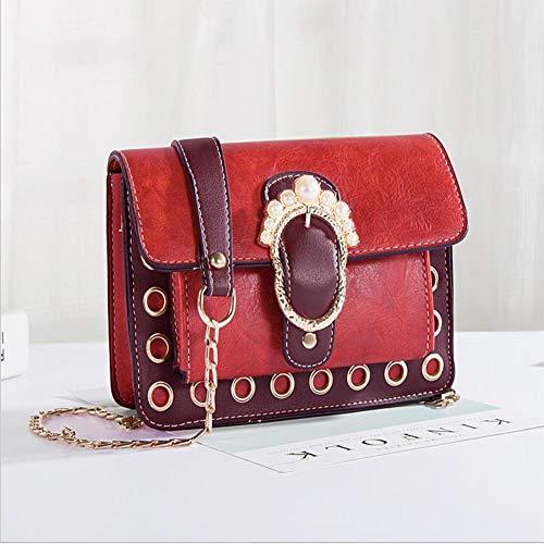 GUANJUN Frauen handtasche frische literarische erscheinung hardware ring dekorative abdeckung perle ball verziert abschnitt quadratische umhängetasche damen schultertasche,red