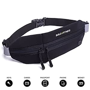 Running Belt, Fitness Belt, Travel Belt, Zipper, Adjustable, Waterproof, Reflective. iPhone 6/7 (slim cases only). Unisex. Gym Workouts, Exercise, Cycling, Walking, Jogging, Sport & Outdoor Activities