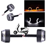 #2: AutoSun Handlebar Light Indicators Bar End Turn Signal Grip Dual Color White and Yellow (Scooty All Type)