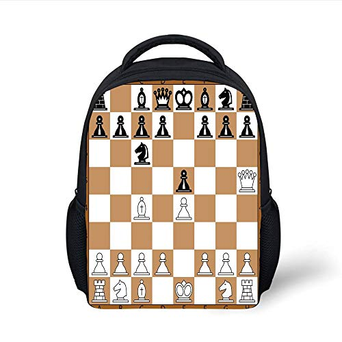 Kids School Backpack Board Game,Opening Position on Chessboard Letters Numbers Squares Pieces Print,Brown Light Brown Black Plain Bookbag Travel Daypack -