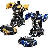 Tatuo 2 Stücke Roboter Zurückziehen Auto Spielzeug für Kinder Fahrzeuge 2 in 1 Verformung Auto Geburtstagsgeschenke (Blau und Gelb)