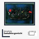 Kunstdruck Poster Bild Paul Klee - Das Abenteuerschiff 80 x 60 cm mit MDF-Bilderrahmen Monaco & Acrylglas reflexfrei, viele Farben zur Auswahl, hier Dunkelblau gewischt