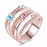 The sweetest weapon Lady's Persönlichkeit, Multi Line, Tricolour Diamantring, Einzigartige Rose Gold Diamond Ring, Acht