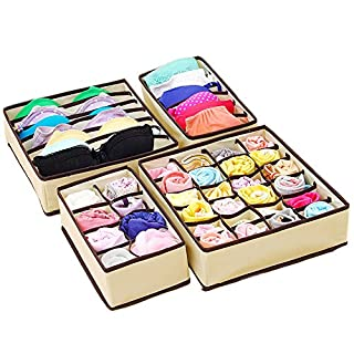 joyoldelf 4 Stück Aufbewahrungsboxen Schubladenunterteilungen Kleiderschrank Veranstalter,Perfeckt für Faltbare Schubladenunterteilungen zum Aufbewahren von Socken,Schals,Büstenhalter (Beige)