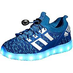 Yeeper LED Zapatillas de 7 Colores de Luces con USB de Carga Transpirables para los Niños y los Adolescentes 1832 Azul EU 30